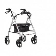 Andador dobrável com rodas e cesto